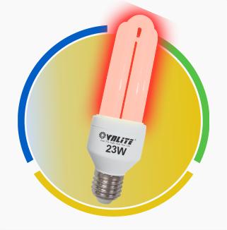 Bóng đèn compact chống ẩm ánh sáng đỏ 3U 23W